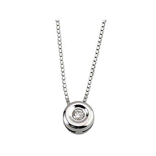 Pendentif 0,04ct collier de diamants or blanc 18 carats lunette [5896]