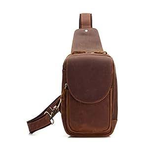 Man Sling Bag Leather Chest Bag, Crossbody Shoulder Bag Outdoor Daypack for Business Casual Sport Hiking Travel Brown (Color : Brown, Size : M)
