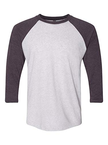 Next Level Apparel 6051 Unisex Tri-Blend 3 By 4 Sleeve Raglan - Vintage Purple & Heather White, 3XL