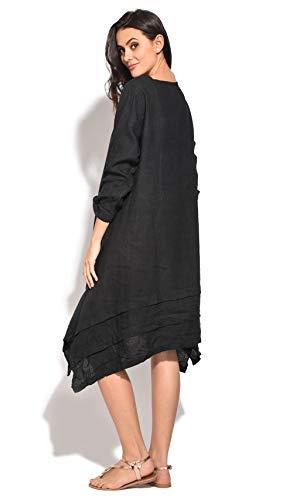 Noir Femme Robe 100Lin Robe 100Lin 100Lin Robe Noir Femme Femme DEH92I
