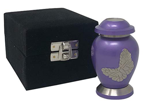 Eternitymart Butterfly Keepsake Urn - Butterfly Mini Urn with Fancy Box - Handcrafted Solid Brass Butterfly Miniature Urn for Ashes (Purple)