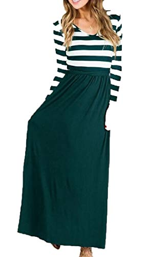 Green with Sleeve Stripe Fashion ainr Belt Stitching Long Blackish Dress Womens Long qwRX8TnaP