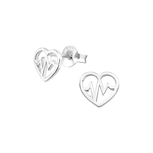 Liara - Heartbeat Plain Ear Studs 925 Sterling Silver. Polished And Nickel Free