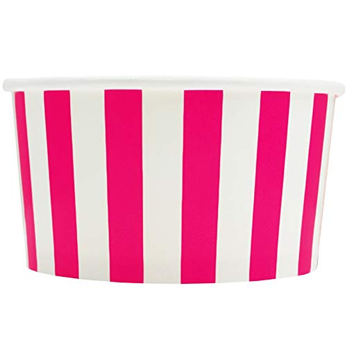 Pink Paper Ice Cream Cups - 6 oz Striped Dessert Bowls - Comes In Many Colors & Sizes! Frozen Dessert Supplies - Fast Shipping! 1,000 Count