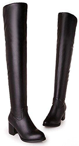 Easemax Women's Dressy Zip Up Mid Chunky Heel Round Toe Over Knee High Booties Black fn6ou7un