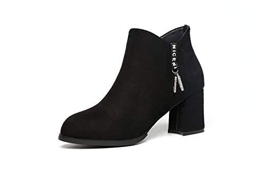 Carrée Fourrure La Femmes Bout Peu Bouche Hrcxue Gland Femme De Sauvage Boucle Métal Chaussures Rond Avec En Profonde Noir Épais KulJc1TF3