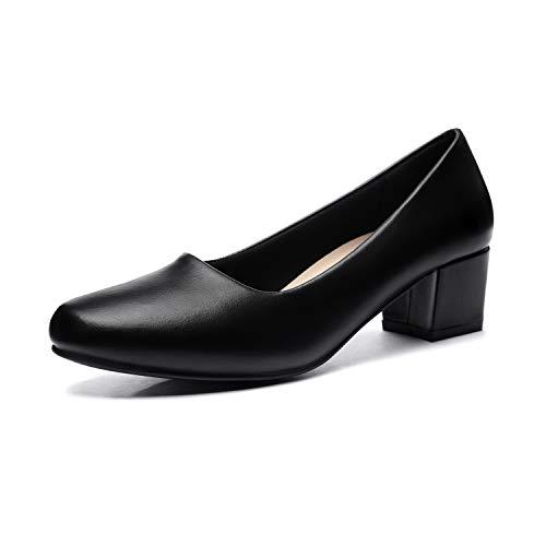 - GUCHENG Chunky Heels Pumps Low Shoes Women's - Dress Ladies Heel Comfortable - Formal Width Black Brown White Wedding Shoes (9 M US, Full Black)
