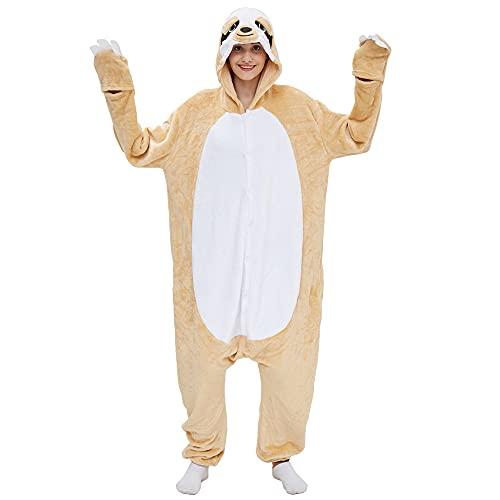 Kigurumis crème luiaard Dier Onesie Cartoon Dier Winter Pyjama Vrouwen Volwassen Cartoon Jumpsuit Kostuum Fleece…