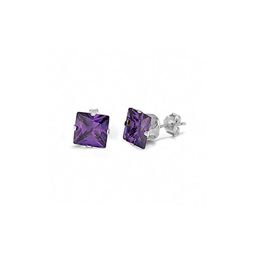 (Solitaire Stud Post Earring Princess Cut Simulated Purple Amethyst 925 Sterling Silver)