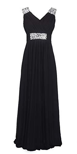 Conail Coco Women Ruched Waist Rhinestone Casual Tulle Semi-Formal Long Wedding Bridesmaid Dress (XXLarge, 44Black) (Long Black Semi Formal Dress)