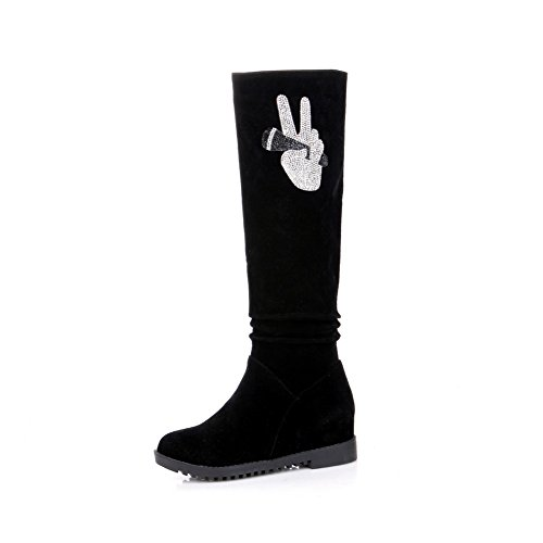 BalaMasa Ladies Glass Diamond Heighten Inside Square Heels Frosted Boots Black s3KF4VaU