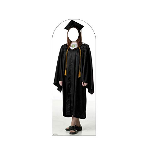 - Advanced Graphics Female Graduate Black Cap & Gown Stand-in Life Size Cardboard Cutout Standup