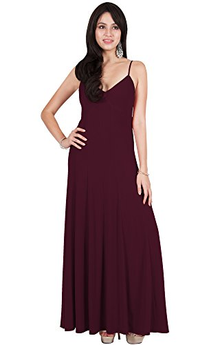 Viris Zamara Plus Size Womens Long Sexy V-Neck Sleeveless Spaghetti Strap Evening Cocktail Bridesmaid Wedding Party Flowy Formal Prom Gown Gowns Maxi Dress Dresses, Maroon Wine Red 2XL 18-20 ()