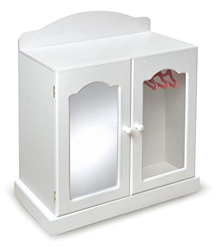 Treasures Mirrored Door Chest - Badger Basket Mirrored Doll Armoire with 3 Baskets & 3 Hangers (fits American Girl Dolls), White
