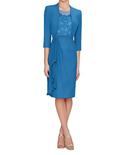 Damen Charmant Brautmutterkleider Dunkel Blau Abendkleider mit Bolero Silber Chiffon Partykleider Knielang Langarm qdwdxB1HAn
