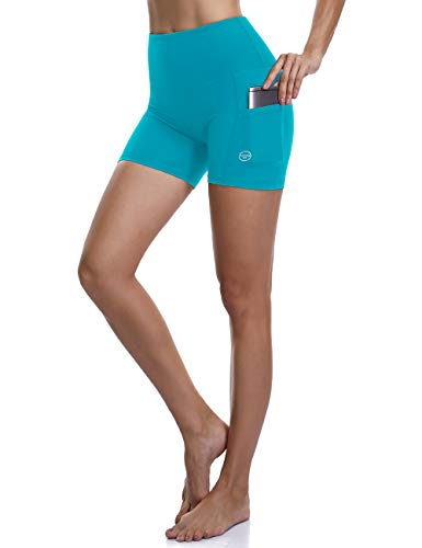 ALONG FIT Womens Running Shorts Yoga Shorts with Pockets Yoga Leggings 4 Way Stretch High Waist Yoga Shorts for work out running sports