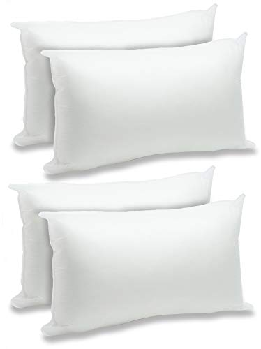 "Foamily 4 Pack - 12"" x 20"" Premium Hypoallergenic Lumbar Stuffer Pillow Inserts Sham Square Form Polyester, Standard/White"