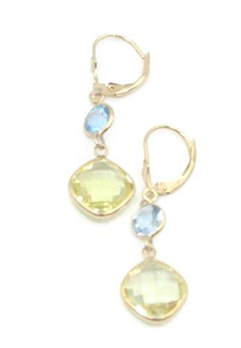 Blue Topaz and Lemon Quartz Dangle Earrings,14K Yellow Gold Leverbacks (Lemon Earrings Topaz)