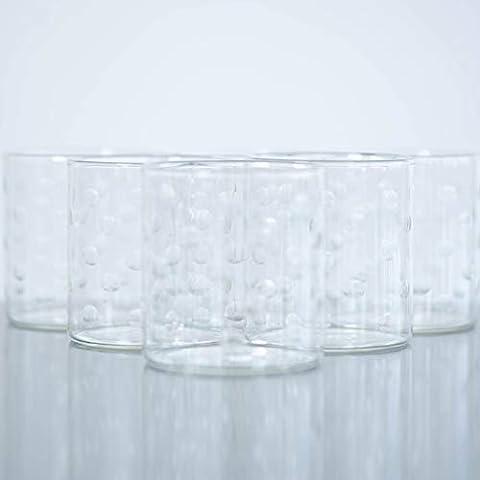 Borosil Vision Deco Polka Tumbler [Set of 6] -Clear Lightweight & Durable Drinkware, 10 Ounce Cups