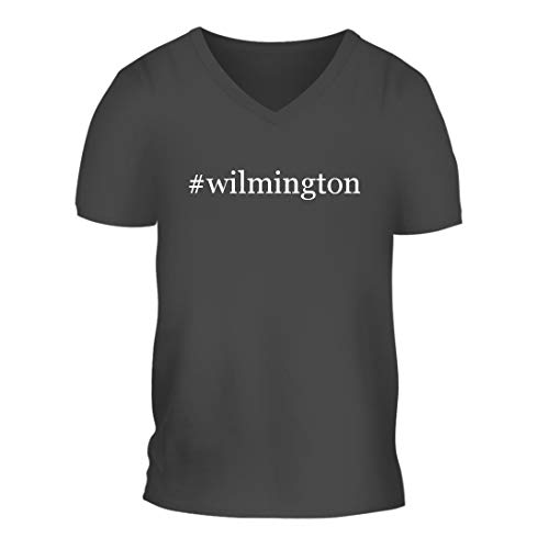 #Wilmington - A Nice Hashtag Men's Short Sleeve V-Neck T-Shirt Shirt, Grey, Large