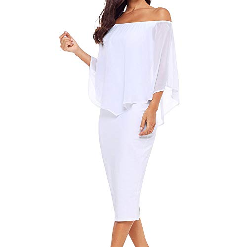 Strapless Chiffon Cocktail Dress - Alaster Queen Women's Off The Shoulder Bodycon Midi Dress Layered Chiffon Ruffled Party Dress for Women ... (White, Large)