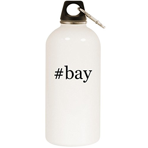 Molandra Products #Bay - White Hashtag 20oz Stainless Steel Water Bottle with Carabiner ()