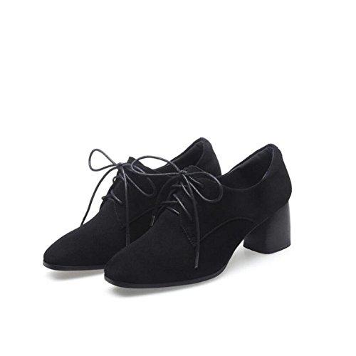 L@YC Frauen-hohe Abs?tze Fr¨¹hlings-Spassvogel Windm¨¹hlen von England-Schuhen Chunky Fersen-Schuhe Sand / Schwarzes Black