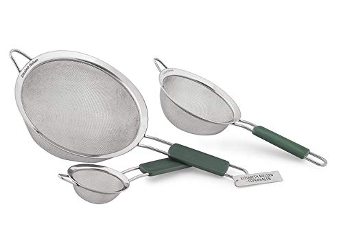 Elisabeth Nielsen Fine Mesh Strainer Set of 3 Stainless, Use Strainers as a Flour Sifter, Pasta Strainer, Colander with Handle for Amaranth, Rinse Quinoa, PLUS a Free Bonus Set of Mesh Tea Strainers
