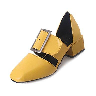 LvYuan Mujer-Tacón Robusto-Confort-Sandalias-Exterior-PU-Negro Amarillo Rojo Black