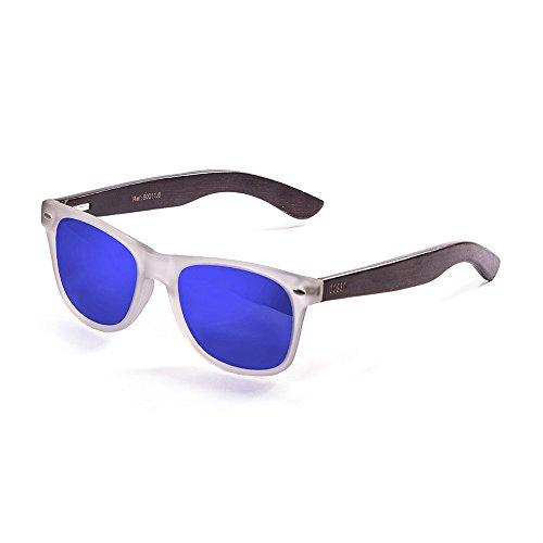 Ocean Sunglasses Beach Lunettes de Soleil Mixte Adulte, Bambo Dark Frame/Wood Dark White/Blue Arms/Revo Blue Lens