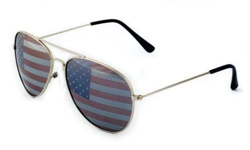 American USA Flag Aviator Sunglasses US Patriotic United States Stars - Lo With Green Cat Cee