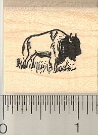Tiny Bison Rubber Stamp, American Buffalo - Wood Mounted
