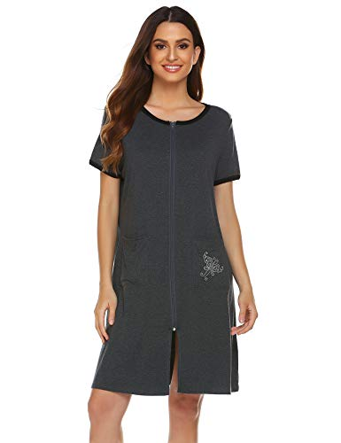 Ekouaer Women Short Sleeve Zip-Front O-Neck Bathrobe Sleepwear Short Robe Dark Grey Large ()