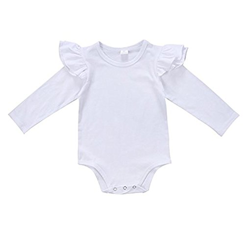 White Ruffle Sleeve (Kingte Baby Girls Long Sleeve Ruffle Romper (12-18M, White))