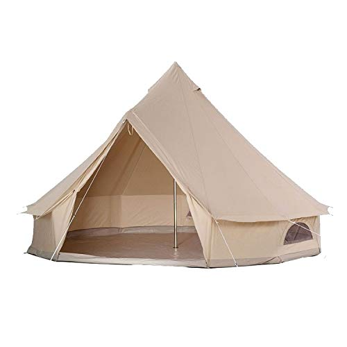 Large Outdoor Waterproof 10 Person Family Cabin Tent ,Four Season Camping and Winter Glamping Cotton Canvas Yurt Bell Tent with w/Front Porch, Mosquito Screen Door and Windows (Diameter 13.3FT / 4M)