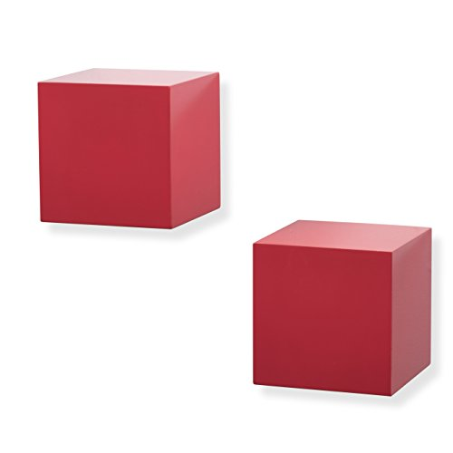 brightmaison Living Room Decorative Square Wall Cubes Floating Block Shelves Set of 2 (Red)