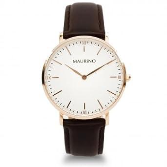 MAURINO Damen Armbanduhr Analog Quarz Leder Rose Gold 36mm M01618