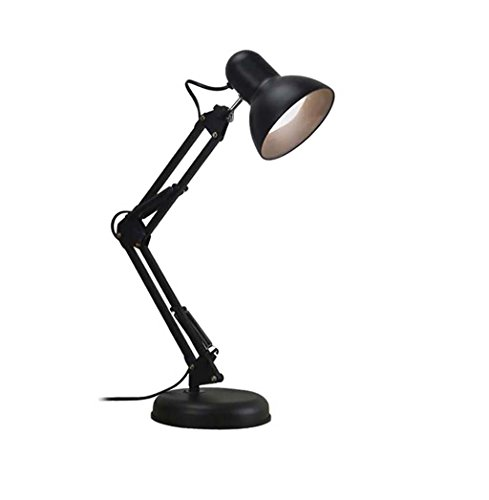 Table lamp LED Lamp Eye Protection Student Dorm Light Office And Bedroom Super Bright Lights Charging Small Lamp (Color : Black plug1) by Table lamp