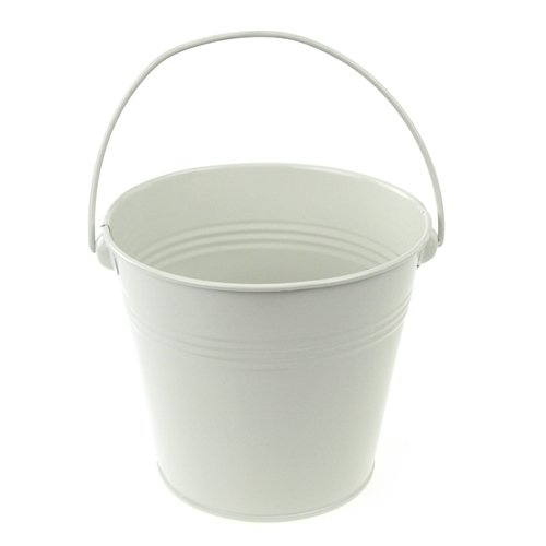 Homeford Firefly Imports Metal Pail Buckets Party Favor, 5-Inch, White, (White Mini Pails)