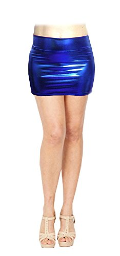 SACASUSA Shiny Stretchy Metallic Wet Look Mini Skirts in Royal Blue Large