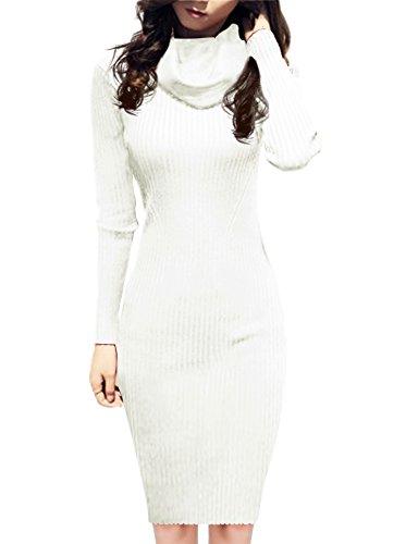 v28 Women Knit Cowl Neck Elastic Long Sleeve Stretchable Slim Fit Sweater Dress (USASize16-20, White)
