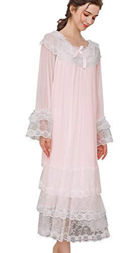(Airvid Women's Lace Vintage Victorian Nightgown Long Sleeve Sleepwear Nightdress (Medium, Pink#1) )