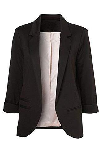 Oudan Manteaux Blazer Noir Travail Femmes large Casual Printemps Cardigan Automne Taille Solide coloré Xx Rgwrgq