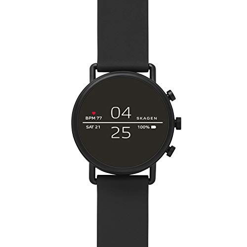 Skagen Connected Falster 2 Stainless Steel and Silicone Touchscreen Smartwatch, Color: Black (Model: SKT5100) from Skagen