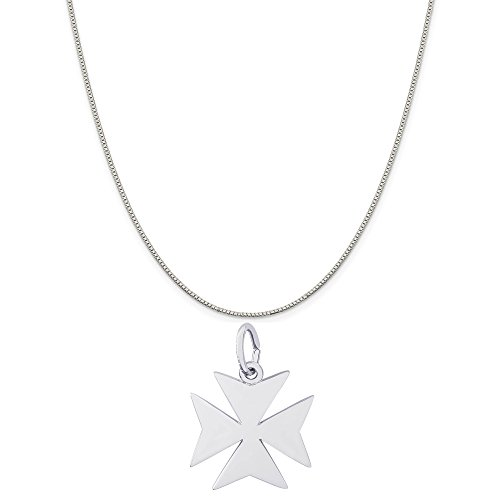Rembrandt Charms Sterling Silver Maltese Cross Charm on a Sterling Silver Box Chain Necklace, (Sterling Silver Maltese Cross)