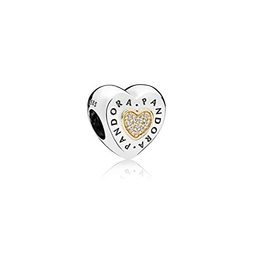 PANDORA Logo Heart Charm in Sterling Silver with Clear Cubic Zirconia in 14k Gold Hearts - (Logo Gold Charm)