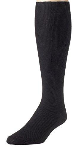 Sportoli Men's Soft Ribbed Knit Cotton Blend Comfortable Knee High Socks - Black (9-11)