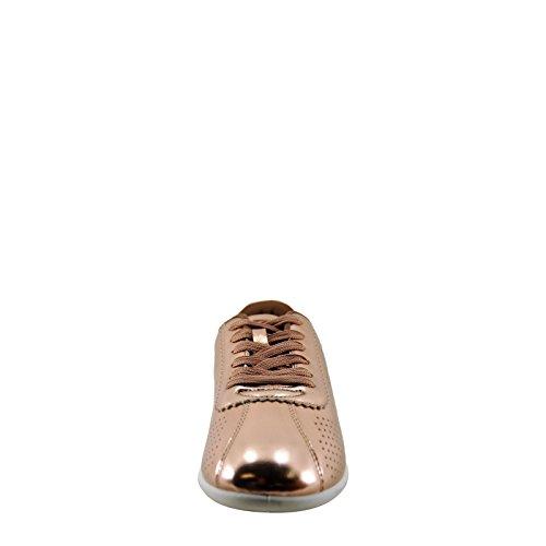 Qupid Paz 01 Dames Metallic Geperforeerde Veterschoen Rosé Goud