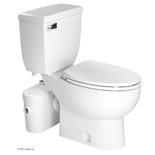 Saniflo Two Piece Elongated Bowl Toilet with Macerating Pump 017-007-005 White