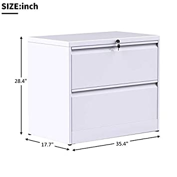 Merax lateral File Cabinet Two Drawer Locking Filing Cabinet 2 Drawers Metal Organizer Heavy Duty Hanging File Office Home Storage